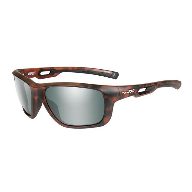 WileyX Aspect grün polarisiert Platinum Flash Gläser Rahmen demi matt Sonnenbrille