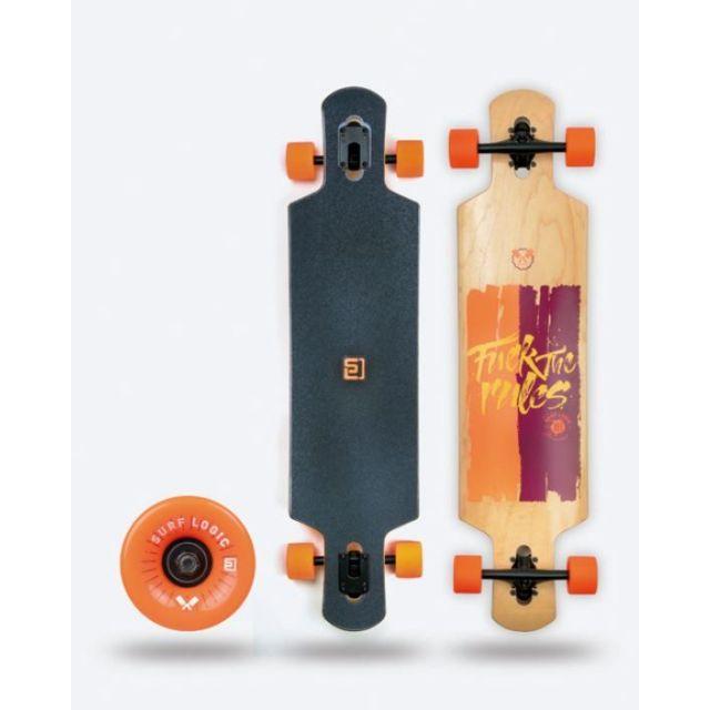 Surf Logic Longboard Orange Schwarz 103CM Skateboard Mini Camber