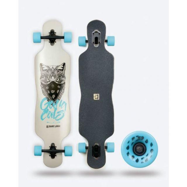 Surf Logic Longboard 105 cm Blau Weiss Skateboard