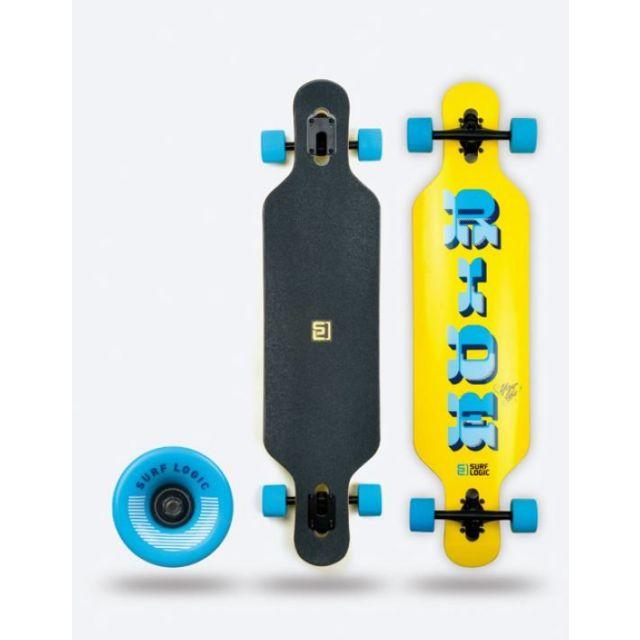 Surf Logic Longboard 104cm Gelb Blau Skateboard