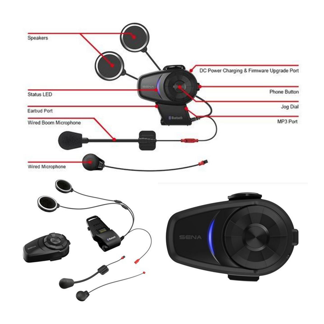Sena 10S Bluetooth 4.1 Motorrad Headset mit Intercom